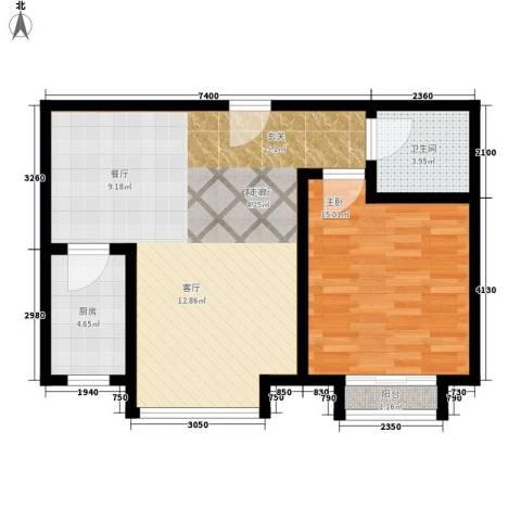 和发紫薇园1室1厅1卫1厨65.00㎡户型图