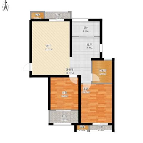 水韵名居2室1厅1卫1厨97.00㎡户型图