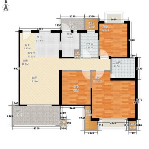 东惠广场3室1厅2卫1厨123.00㎡户型图