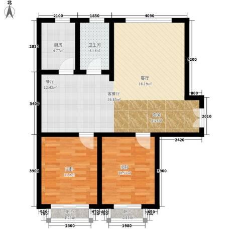 和发紫薇园2室1厅1卫1厨100.00㎡户型图