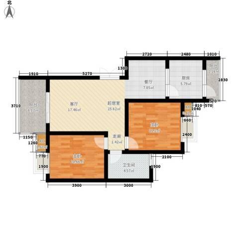 兰亭水云涧2室0厅1卫1厨73.00㎡户型图
