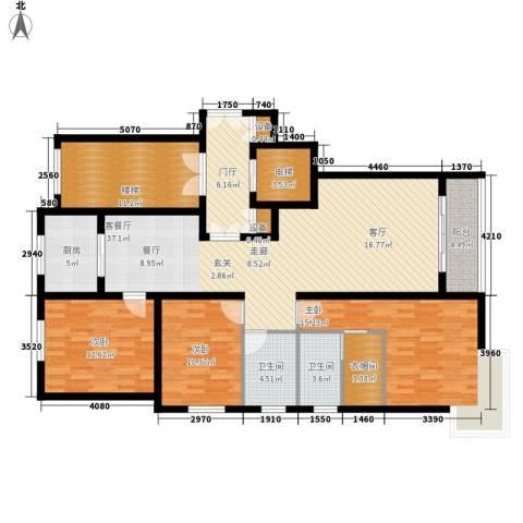 上东阳光3室1厅2卫1厨136.00㎡户型图