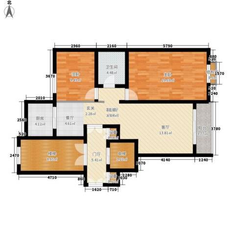 上东阳光2室1厅1卫1厨104.00㎡户型图
