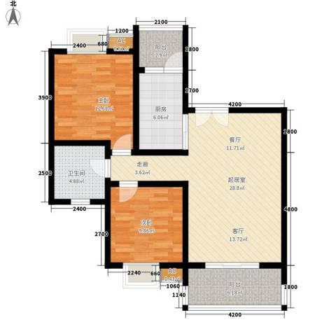 兰亭水云涧2室0厅1卫1厨75.00㎡户型图