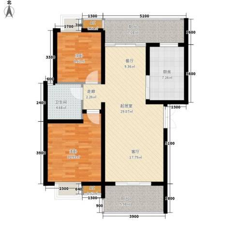 兰亭水云涧2室0厅1卫1厨79.00㎡户型图