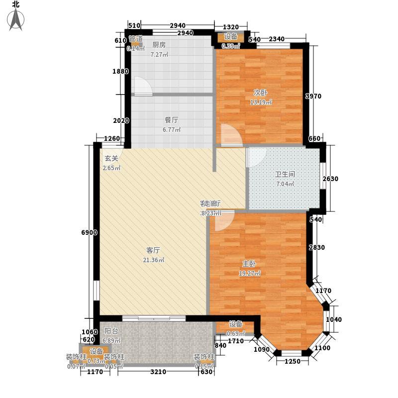 钱塘彩虹城110.05㎡三期26号楼1层P户型2室2厅1卫1厨户型2室2厅1卫