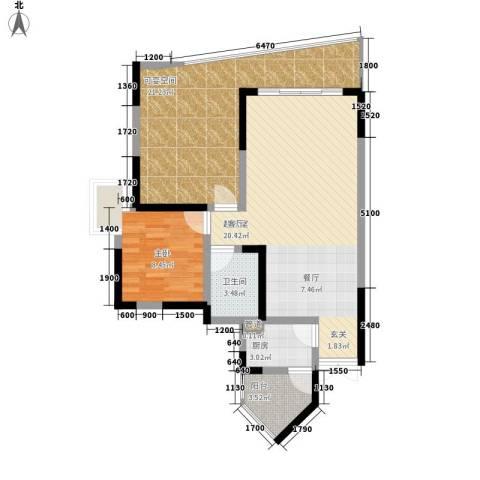 湖畔城市假日1室0厅1卫1厨69.52㎡户型图