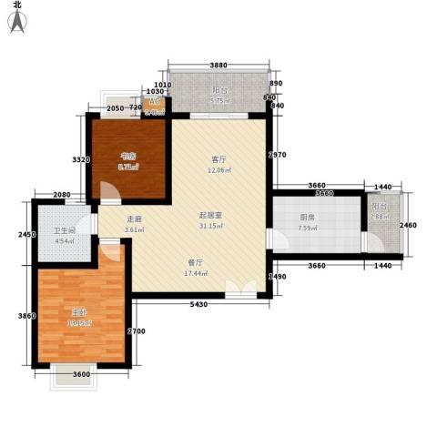 兰亭水云涧2室0厅1卫1厨78.00㎡户型图