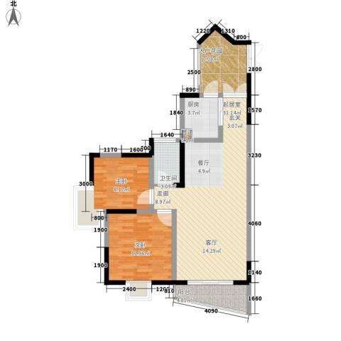 湖畔城市假日2室0厅1卫1厨74.00㎡户型图