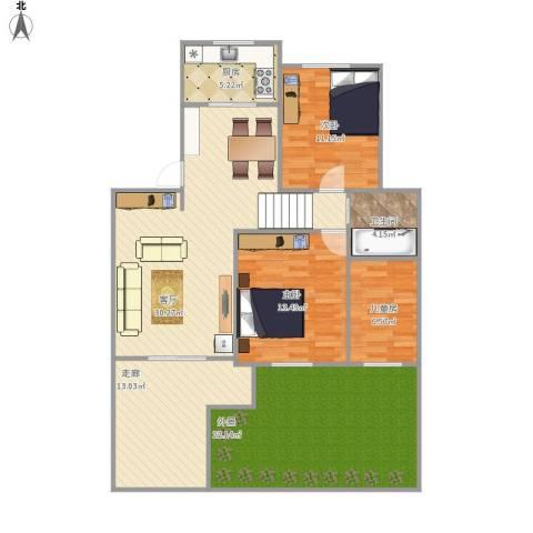 银泰花园别墅3室1厅1卫1厨113.57㎡户型图