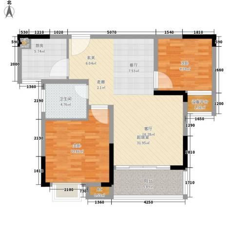 香格里拉2室0厅1卫1厨106.00㎡户型图