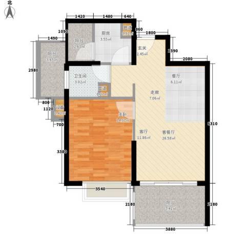 裕发楼1室1厅1卫1厨71.00㎡户型图