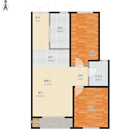 海航YOHO湾2室1厅1卫1厨92.00㎡户型图