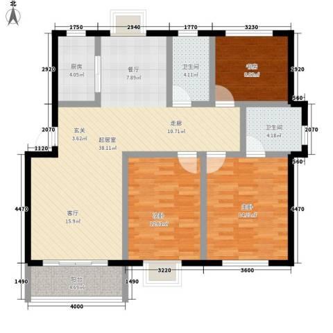 秀水人家3室0厅2卫1厨116.00㎡户型图