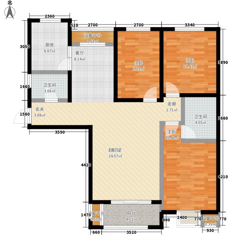金屋秦皇半岛126.40㎡一区C1户型3室2厅
