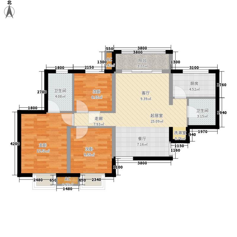 美震中环时代95.67㎡3室2厅2卫 95.67平方米户型