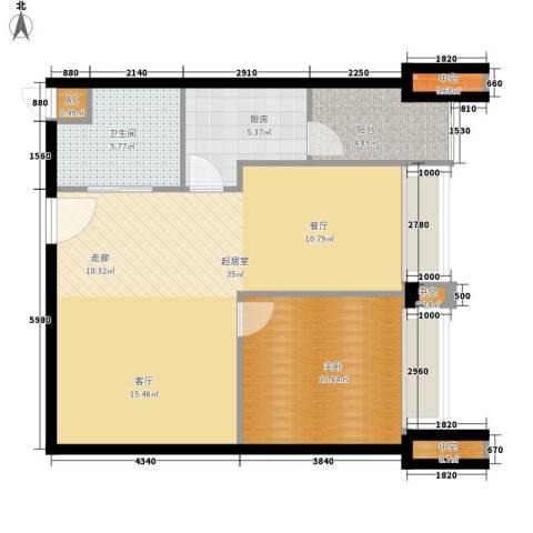 汀兰雅苑1室0厅1卫1厨73.43㎡户型图