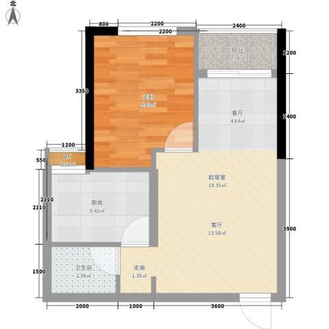 森柯一馨园1室0厅1卫1厨43.00㎡户型图