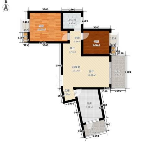兰亭水云涧2室0厅1卫1厨76.00㎡户型图