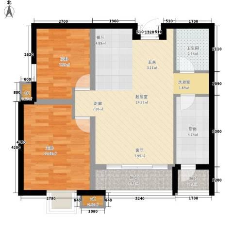 美震中环时代2室0厅1卫1厨83.00㎡户型图