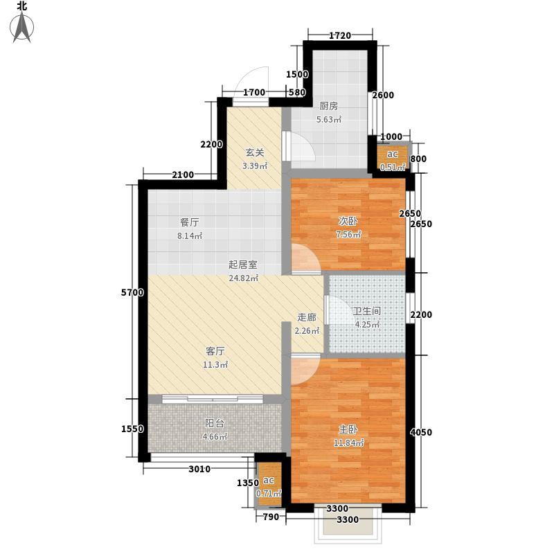 美震中环时代82.58㎡2室2厅1卫 82.58平方米户型