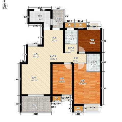 红叶大厦3室0厅2卫1厨131.00㎡户型图