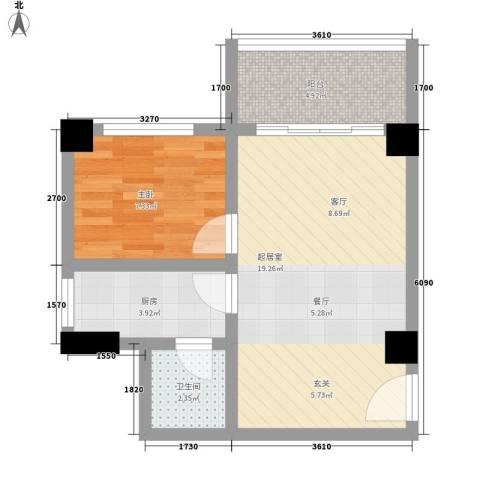 车陂东景花园1室0厅1卫1厨45.00㎡户型图