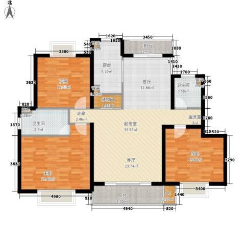 丁香苑3室0厅2卫1厨126.00㎡户型图