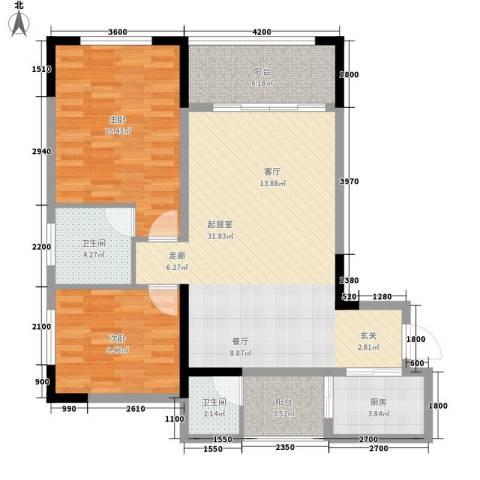 森柯一馨园2室0厅2卫1厨79.00㎡户型图