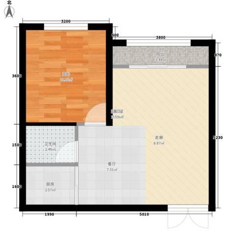 三和翠雍星城1室0厅1卫1厨44.62㎡户型图