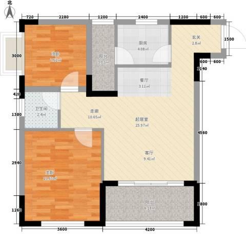 森柯一馨园2室0厅1卫1厨66.00㎡户型图