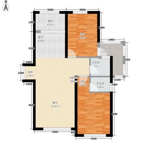 三和翠雍星城2室0厅2卫1厨82.44㎡户型图