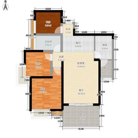 电力机械厂家属院3室0厅1卫1厨116.00㎡户型图