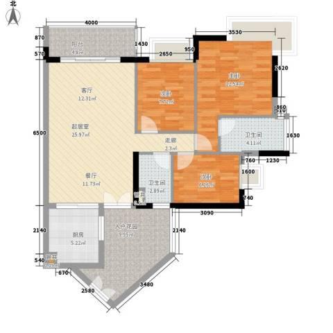 丁香苑3室0厅2卫1厨91.00㎡户型图