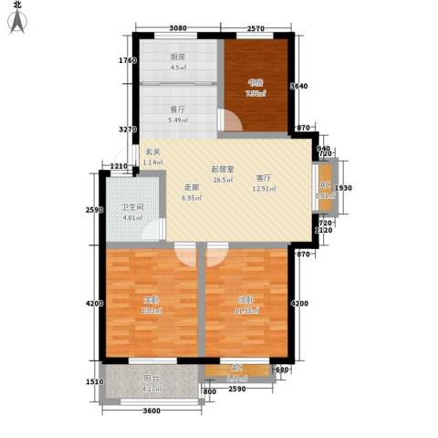 秀水人家3室0厅1卫1厨89.00㎡户型图