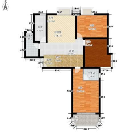 西钦帝景文院3室0厅2卫1厨138.00㎡户型图