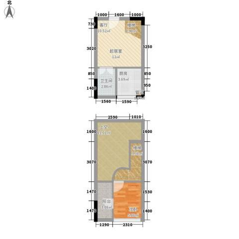 同景国际城香溪迈上1室0厅1卫1厨41.93㎡户型图