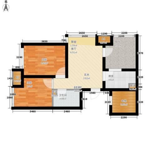 钓鱼台三号院2室0厅1卫1厨74.00㎡户型图