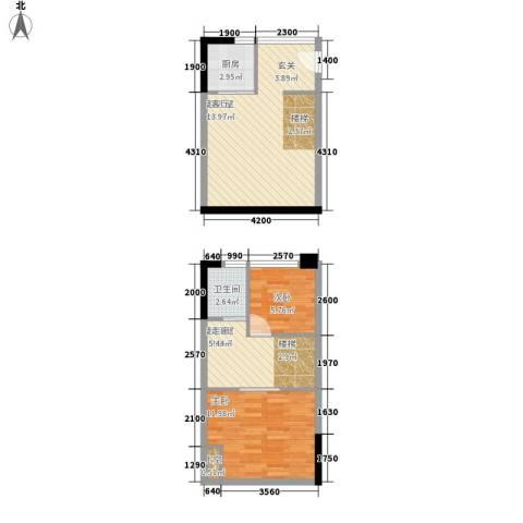 同景国际城香溪迈上2室0厅1卫1厨52.13㎡户型图