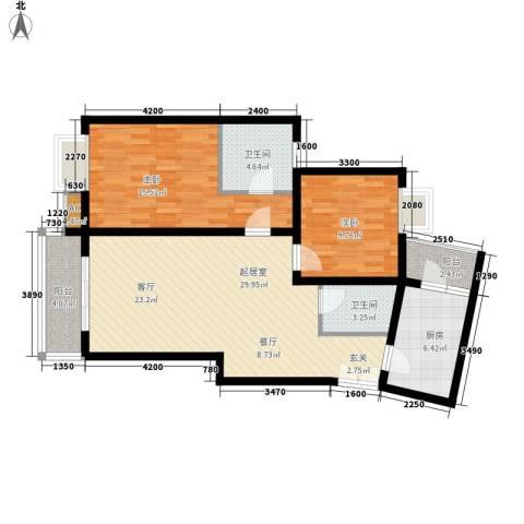 兰亭水云涧2室0厅2卫1厨85.00㎡户型图