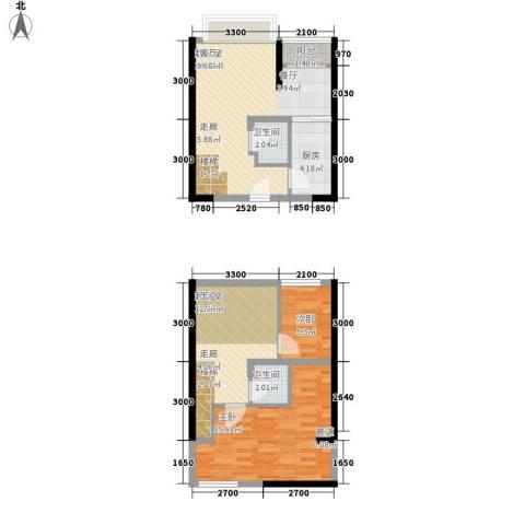 同景国际城香溪迈上2室0厅2卫1厨63.40㎡户型图