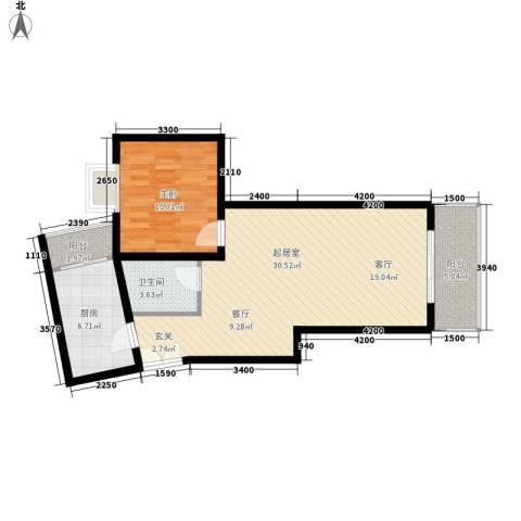 兰亭水云涧1室0厅1卫1厨62.00㎡户型图