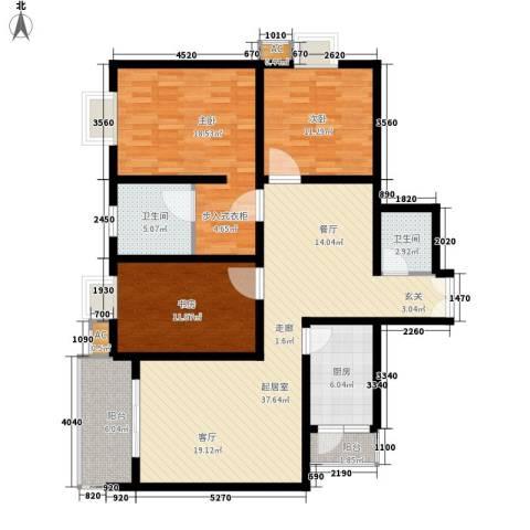 兰亭水云涧3室0厅2卫1厨117.00㎡户型图