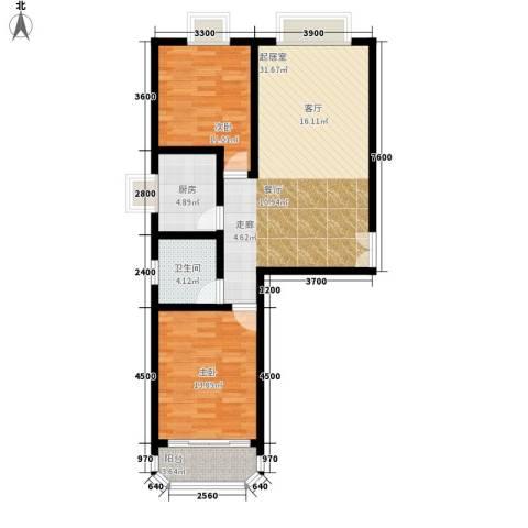 西钦帝景文院2室0厅1卫1厨99.00㎡户型图
