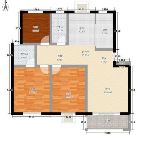 秀水人家3室0厅2卫1厨112.00㎡户型图