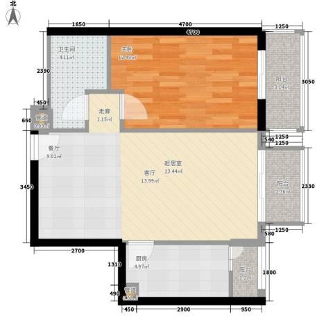 锦业大厦1室0厅1卫1厨74.00㎡户型图