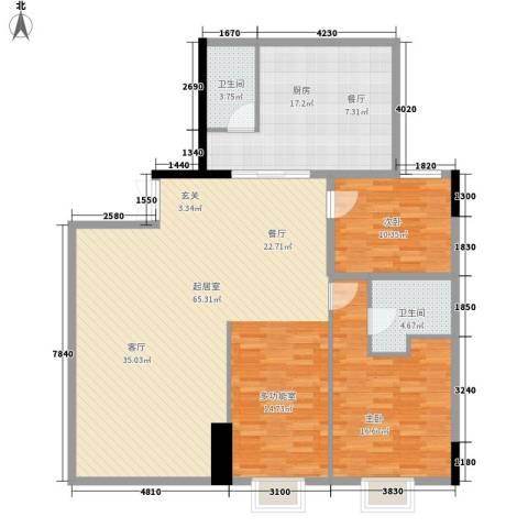 长宝16672室0厅2卫1厨130.00㎡户型图