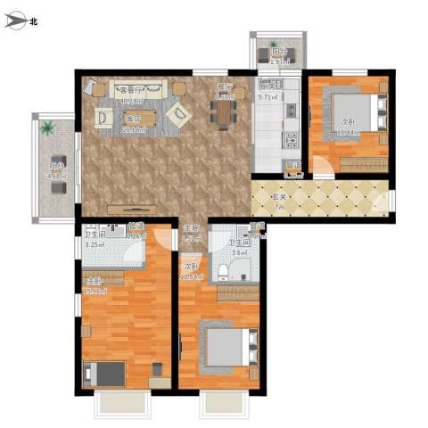 悦澜湾3室1厅2卫1厨141.00㎡户型图