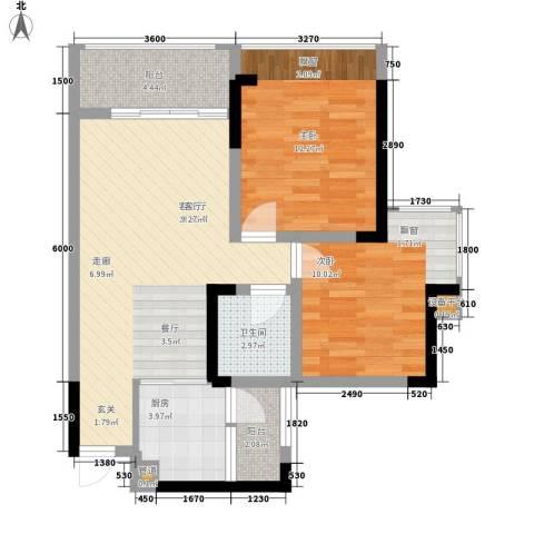 黔龙阳光新世界2室1厅1卫1厨84.00㎡户型图