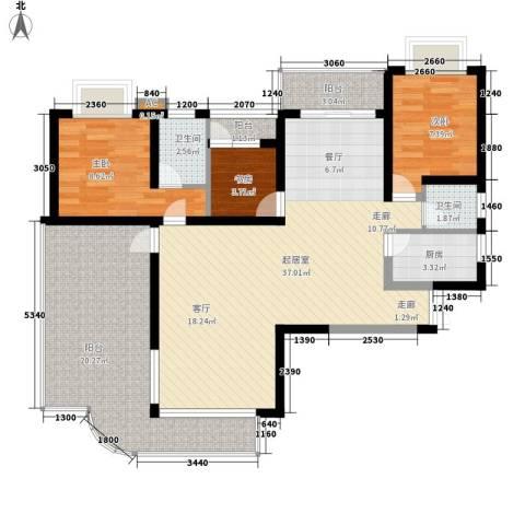 绿湾嘉景苑3室0厅2卫1厨103.00㎡户型图